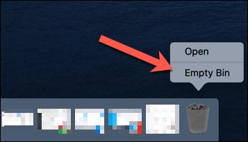 """Haga clic con el botón derecho en el icono de la Papelera y luego haga clic en """"Vaciar papelera""""."""