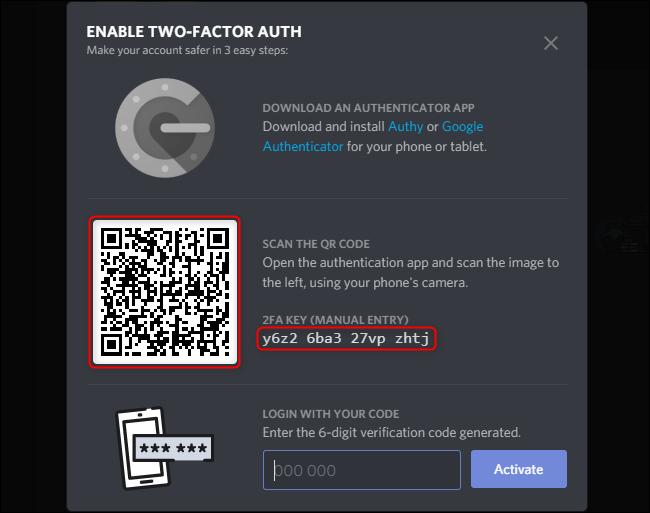 Discord Activar código 2FA