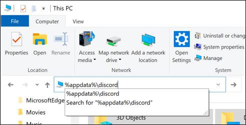 """""""% appdata%  discord"""" en el cuadro del archivo de ruta en el Explorador de archivos de Windows."""