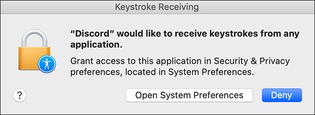 permisos de pulsación de tecla de discordia mac